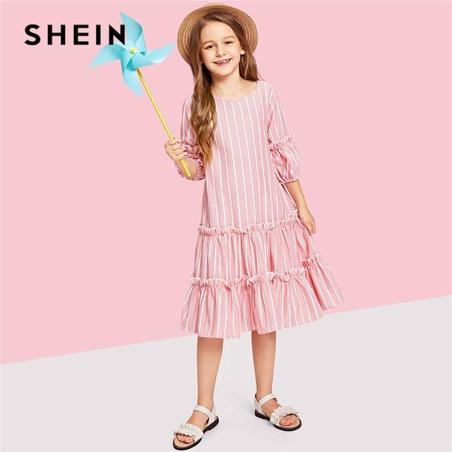 SHEIN Kiddie/розовое многослойное платье с рукавами-фонариками и оборками в полоску и на пуговицах для девочек 2019 г., летние милые повседневные Детские платья трапециевидной формы