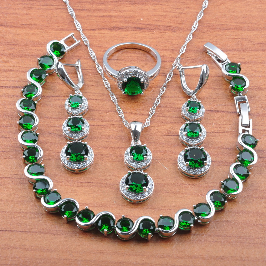 Jewelry-Sets Zircon-Accessories Bracelet/ring-Js0496 925-Sterling-Silver Green Women