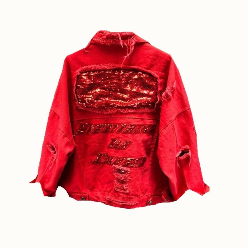 2018 Vêtements Outwear 01 Paillettes Denim Veste 02 Femmes Cow De À Longues Manteau Vintage Manches boy Automne rxa60qwr