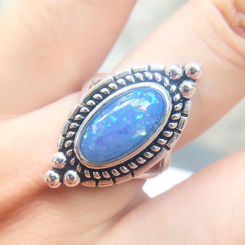 Винтажное кольцо с натуральным камнем плата богемные ювелирные изделия Синий Розовый Морской опал палец кольцо для женщин Свадебные кольца на годовщину