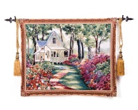 100x136cm Belgium Home Wall Decoration European Pastoral Garden Hut House Paintings Tapestry Hangings Wall blanket ST 17