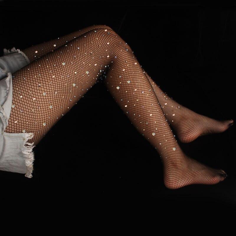 נשים סקסיות רשת גרביונים גבירותיי לוליטה ריינסטון יהלומים מבריקים גרביונים גבירותיי גרבי רשת דייגים דקים באיכות גבוהה