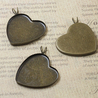 Cabochon 25mm 100pcs Antique Bronze Heart Blank Pendant Glass Trays Bases Cameo Glass Cabochon Setting for Glass/Stickers