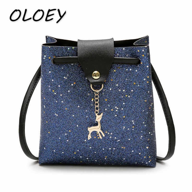 Для женщин дети блестками кожаные сумки модная одежда для девочек небольшой оболочки мешок из металла олень женская сумка Повседневное сумка телефон пакет