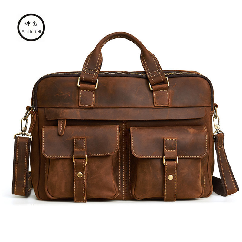 High-end Genuine Leather Handbag Men Laptop Bag Classic  Male Messenger Crazy Horse Cowhide Travel Shoulder Retro Business Bags contact s brand 2018 hot genuine crazy horse cowhide leather men messenger bag high quality shoulder bag for vintage travel bag