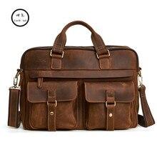 Высокая-конец Пояса из натуральной кожи сумки Для мужчин сумка для ноутбука классический мужской сумка-мессенджер Crazy Horse кожа путешествия ретро Бизнес Сумки