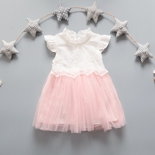 Summer Infant Girls Short Sleeve O Neck Lace Princess Party Mesh Tutu Ball Gown Baby Dress