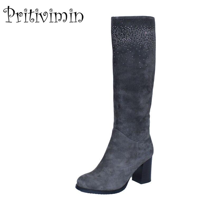 2018 Winter ladies suede leather boots women fashion heel handmade shoes girls warm fur botas feminina footwear Pritivimin FN14