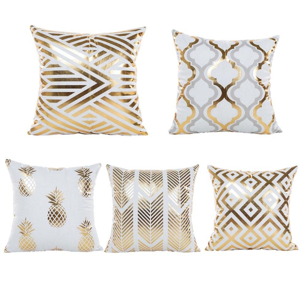 45*45 cm Pillow Slips Gold Foil Pillow Covers Case Golden Design ...