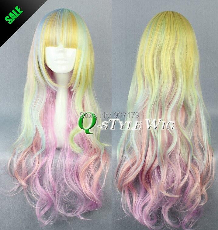 nouvelle arrive jaune rose etc pastel muti couleur mlang perruque color paissir les cheveux belle streak couleur 80 cm lon - Perruque Colore