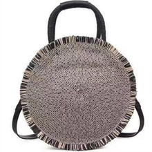 Beach Women Hand Woven Oval Tassel Bag Large Circle Round  Shoulder 2019 fashionable new bag Dropshipping
