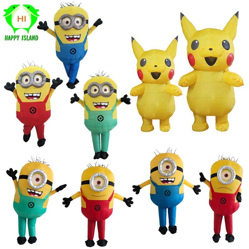 Os desenhos animados cosplay trajes minion trajes infláveis para adultos pikachu traje inflável da mascote para adultos crianças trajes femininos