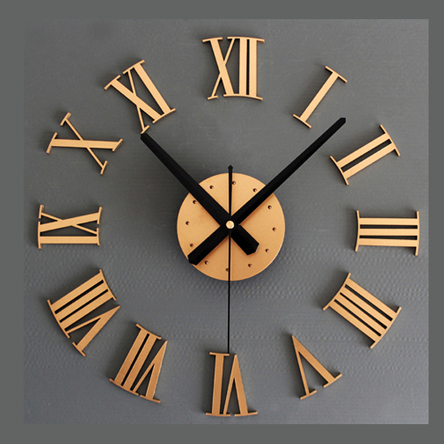 Imitation Metal DIY Wall Clock Modern Design Living Room Decoration 3D Sticker Retro Style Hanging Clocks