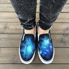 WEN Original Hand Pained Shoes Mens Womens Slip On Shoes Design Galaxy Sapce Nebular Black Canvas Sneakers