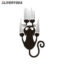 SLIVERYSEA Chống Thấm Họa Tiết Mèo Dán Xe Hơi Hình Thú Ngộ Nghĩnh Vinyl Decal Cửa Sổ Ô Tô Ốp Lưng Dán # B1308