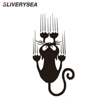 SLIVERYSEA مقاوم للماء القط نمط سيارة ملصق مضحك الحيوان ملصق حائط من الفينيل نافذة السيارة الوفير ملصقات # B1308