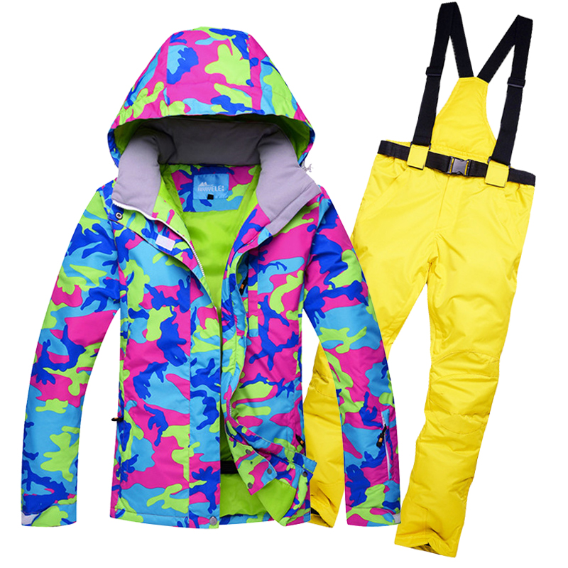Free Shipping Ski Suit Women Warm Skiing Suits Set Ladies Outdoor Sport Winter Windproof, Waterproof Snowboard Jackets +Pants free shipping new hot sale winter lover couple outdoor sport 3in1 twinset water windproof skiing mountaineering jackets 160d321d