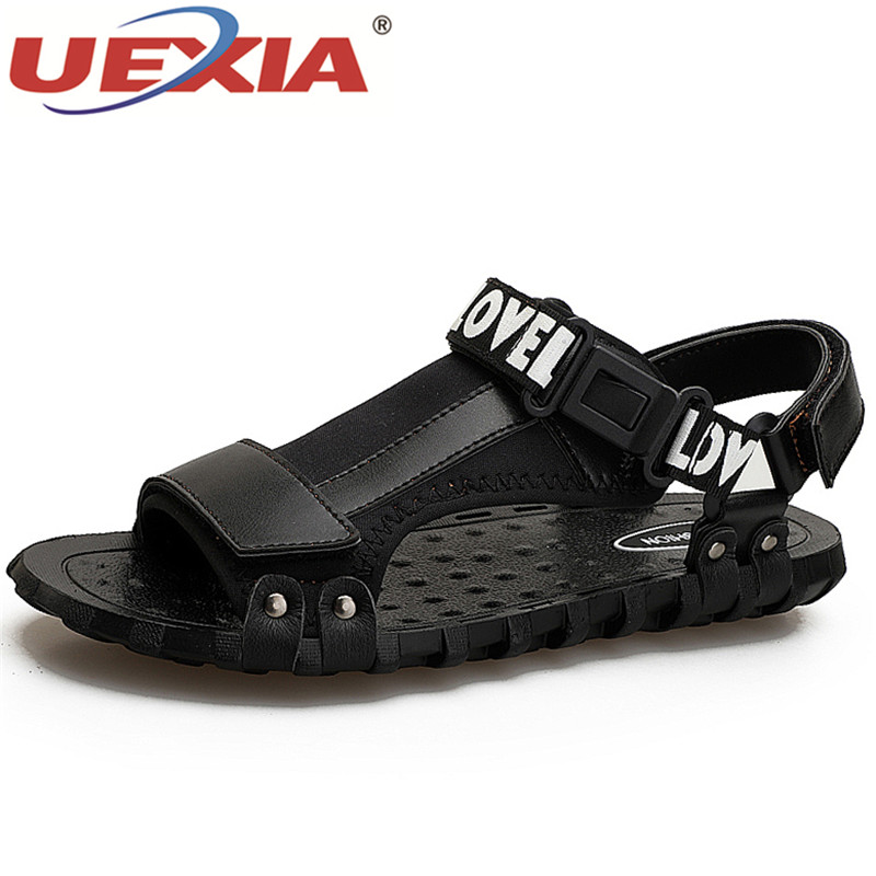 UEXIA Brand 2018 New Handmade Men Leather Sandals Shoes Closed Toe Leather Male Sandal Summer Beach Men Shoes Flats Men Sandals 2016 summer men sandal sale medium b m back strap shoes melissa genuine leather sandals new men s beach shoes free shipping