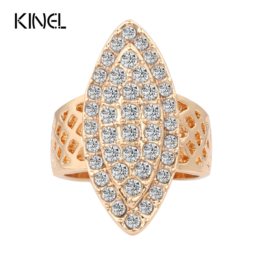 Hot 2017 Luxury Vintage Brand Fashion Gold Crystal Wedding Rings For Women Geometry Anel Jewelry