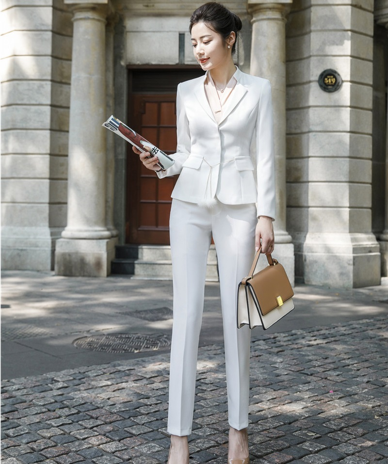 Ladies Fashion White Women Uniform Designs Pantsuits Business Suits With Jackets And Pants Professional Office Pants Suits