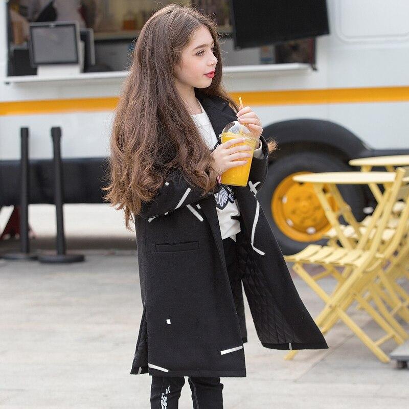 Dress wool coat black girls