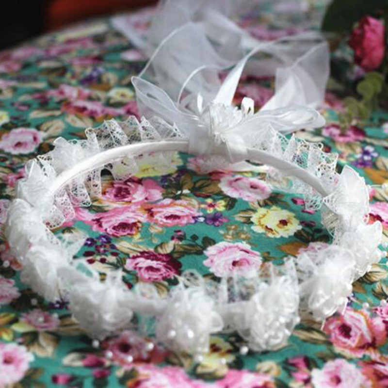 Hot Selling Lovely Beautiful Girl Children Faux Pearls Lace Ribbon Floral Flower Wedding Party Hairband Headband Hair Accessory 3pcs set simulated pearl ribbon lace flower headband baby girl unicorn headbands elastic hairband children hair accessories