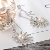 gNpearl Fireworks Freshwater Round Pearl Earrings natural Elegance pearl Banquet Drop earrings 925 Sterling Silver jewelry