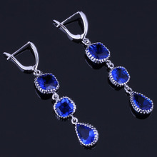 Fantastic Water Drop Blue Cubic Zirconia 925 Sterling Silver Dangle Earrings For Women V0839