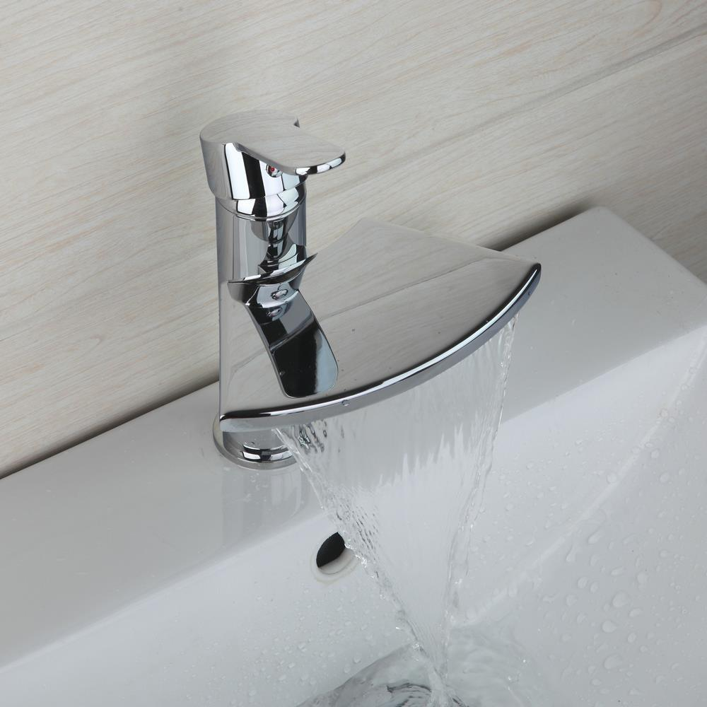 Polished Chrome Brass Waterfall Faucet torneira 8252 Bathroom Basin Faucet Vanity Sink Mixer Tap Wide Spout цена 2017