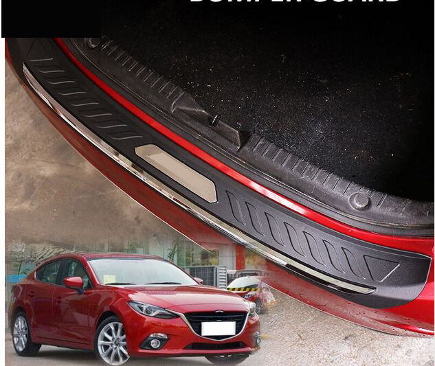 FIT FOR MAZDA 3 AXELA BM 2014 2015 2016 ABS REAR DECK BUMPER PROTECTOR STEP PANEL BOOT COVER SILL PLATE TRUNK TRIM GARNISH