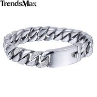 12 14mm 316L Stainless Steel Curb Chain Bracelet W Rhinestone Womens Mens Boys Wholesale Jewelry HB394
