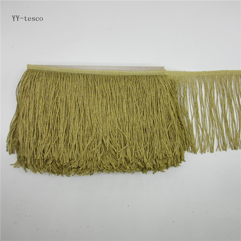 YY-tesco 1Yards 15cm Wide Gold Lace Fringe Trim Tassel Fringe Trimming For Latin Dress Stage Clothes Accessorie Lace Ribbon