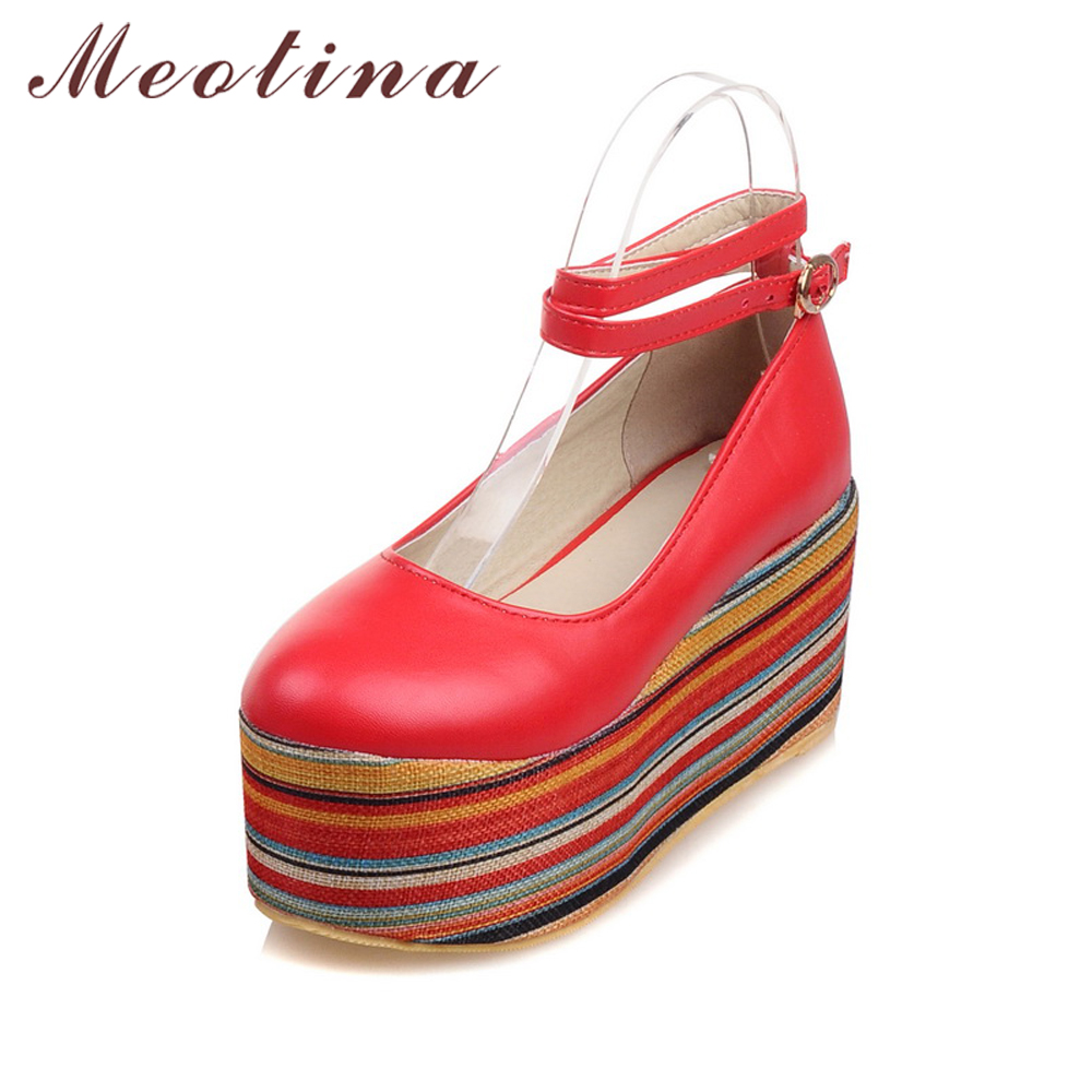 Meotina Shoes Women Wedges Ankle Strap Wedge Heels Platform Shoes Pumps Footwear Punk Lady Shoes White Red Large Size 9 10 40 43 lf30834 red black white polka dot ankle strap wooden wedges platform clogs party sandals