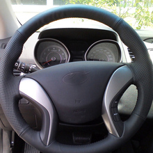 где купить Free Shipping High Quality cowhide Top Layer Leather handmade Sewing Steering wheel covers protect For Hyundai Elantra/Avante дешево