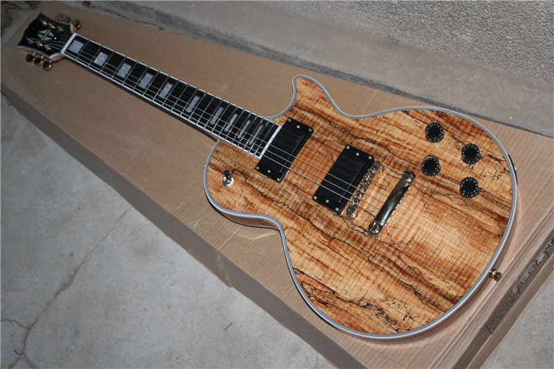 China guitar factory wholesale Tiger Flame Maple Top L Custom Nature Wood EMG 2 Pickups L Electric Guitar free shipping 1 2