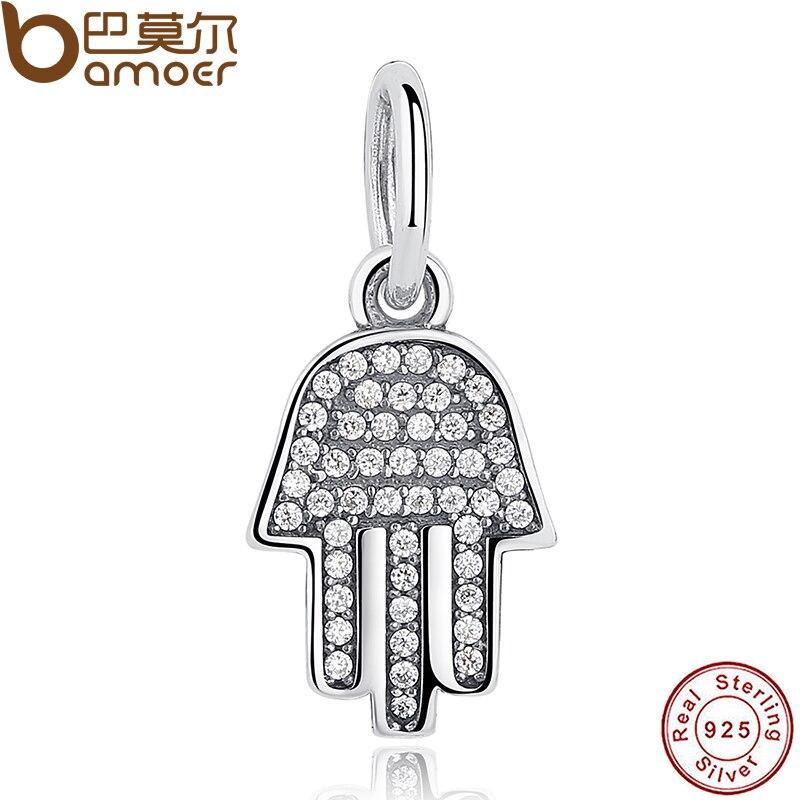 925 Sterling Silver Jewelry Symbol Of Protection Clear CZ Pendant & Charm Fit Bracelet Palm-Shaped Hamsa Dangle Gift PAS048 rhinestone palm charm bracelet