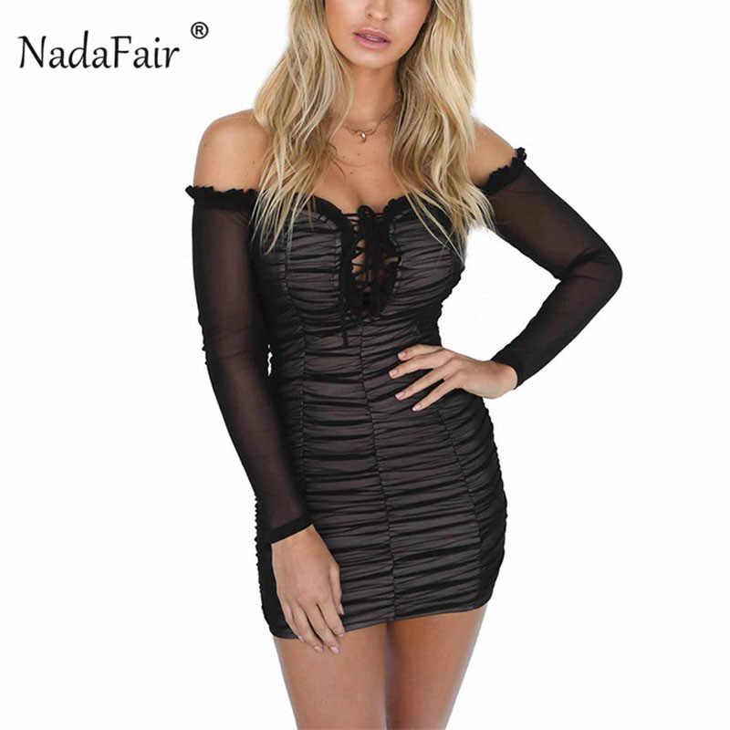 45473c9bcb2 ... Nadafair Off Shoulder Mini Bandage Dress Women Sexy Club Long Sleeve  Bodycon Dress Slash Neck Drawstring ...