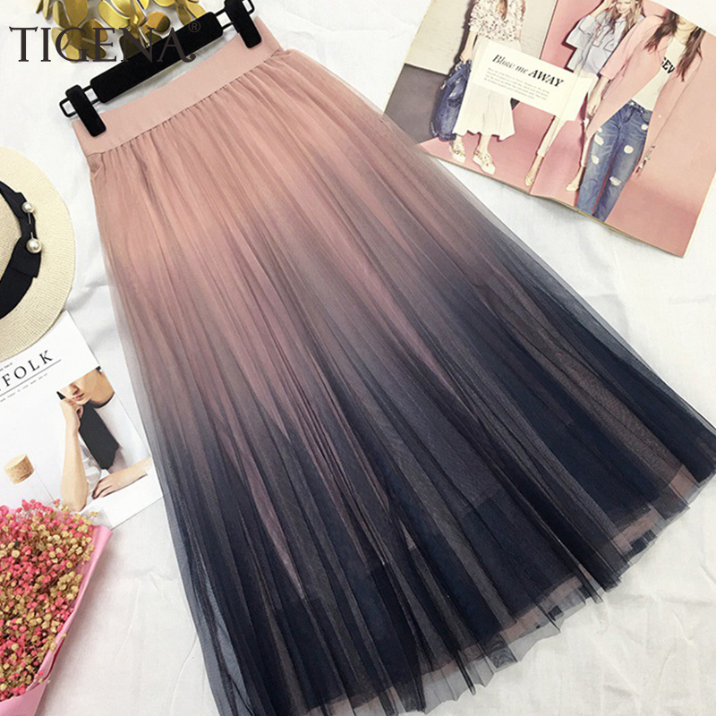 TIGENA Beautiful Gradient Color Long Tulle Skirts Women Korean A-line High Waist Pleated Maxi Skirt Female School Skirt Girls