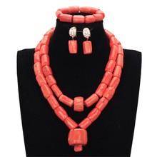 Купить с кэшбэком 4ujewelry Luxury Bridal Jewelry Set 100% Original Big Coral Beads Jewelry Set Nigerian Necklace Set for Women Jewellery Set 2018