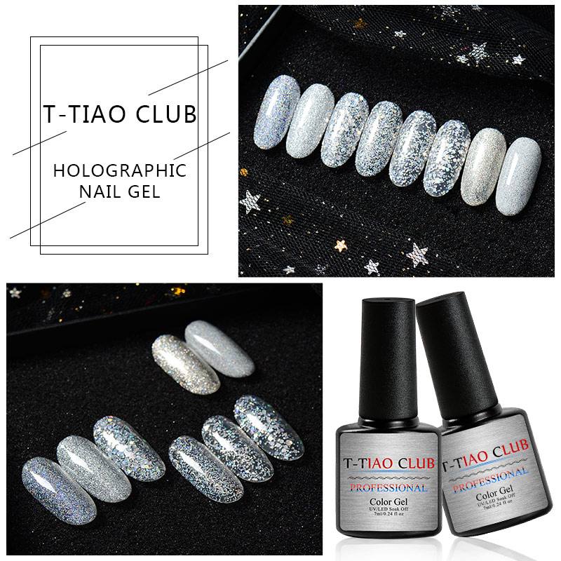 T TIAO CLUB 7ml Glitter Sliver Series Gel Nail Polish Shiny Gel Varnishes Semi Permanent Nail Art Manicure Gel Polish Lacquer in Nail Gel from Beauty Health