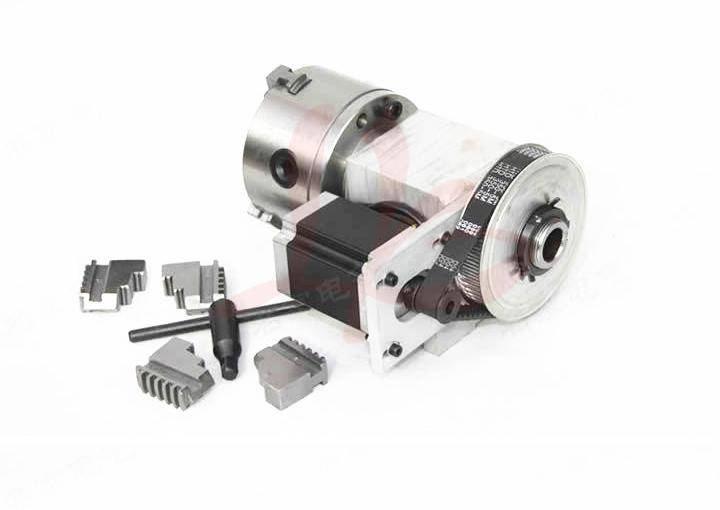 4 jaw Chuck hollow shaft 100mm CNC 4th axis for cnc router best quality nema 34 stepper motor 4 1 k12 100mm 4 jaw chuck 100mm cnc 4th axis a aixs rotary axis tailstock for cnc router