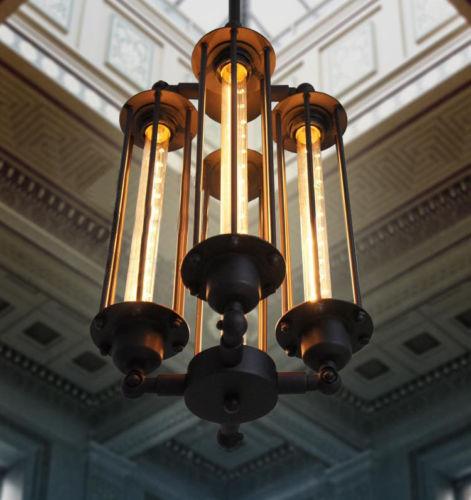 America loft retro punk metal pandent light fixture DIY home deco living room vintage industrial 4*E27 bulb pendant lamp 110/240