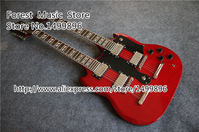 Cheap High Quality Red Double Neck China Guitar 6 String & 12 String SG Electric Guitar For Sale