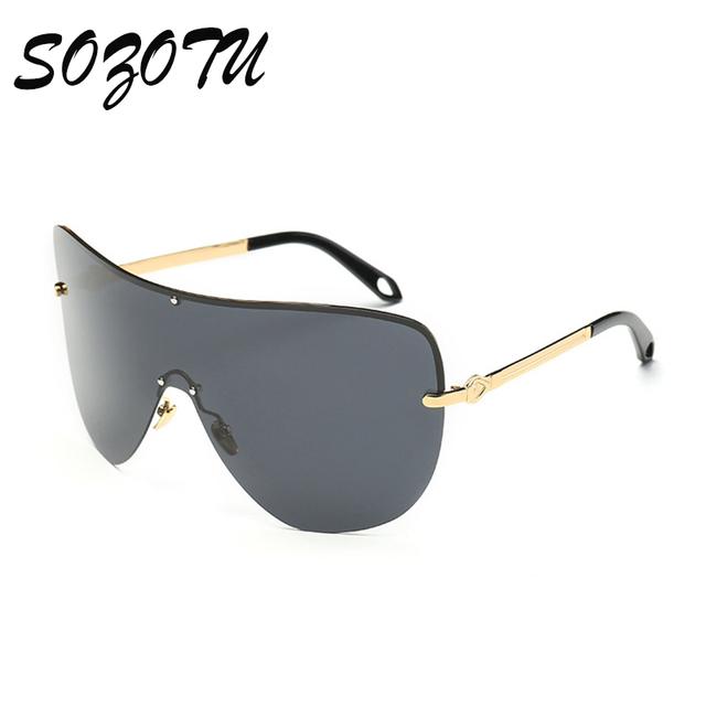 Óculos de Sol da moda de Grandes Dimensões Mulheres Siamese Senhoras Óculos de Sol Da Marca Designer Para Fêmea Grande Moldura de Espelho Lens Oculos UV400 YQ128