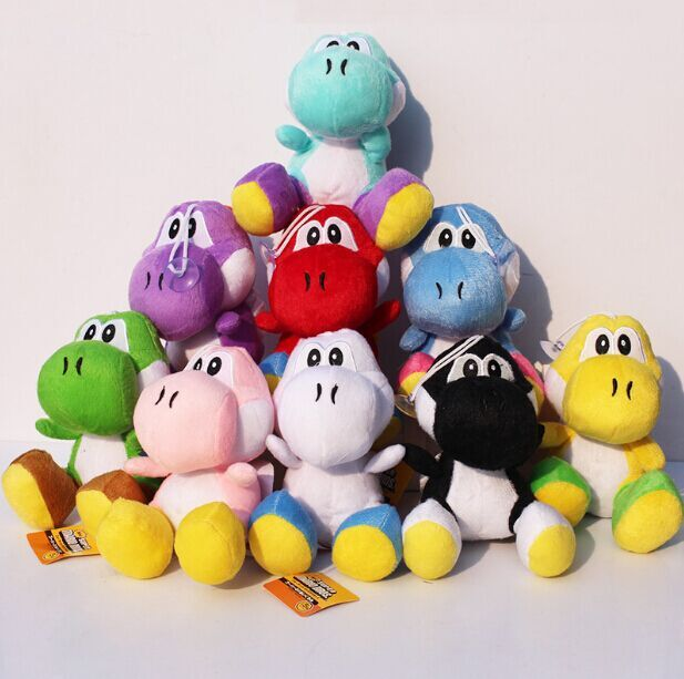 9 Colors 18cm Super Mario Bros Yoshi Plush Stuffed Doll Toys With Sucker Free Shipping For Kids Christmas Gifts