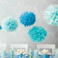 20pcs Lot 20cm Tissue Paper Pom Poms Wedding Decoration Flower Ball Multicolor Birthday Party Wedding Supplies