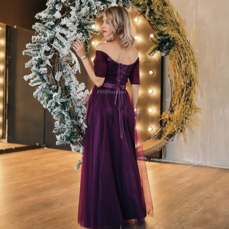 Image 3 - Customize Long Purple Red Woman Evening Dresses 2019 A Line Off the Shoulder Half Sleeve Special Occasion Dresses robe de soireeEvening Dresses   -