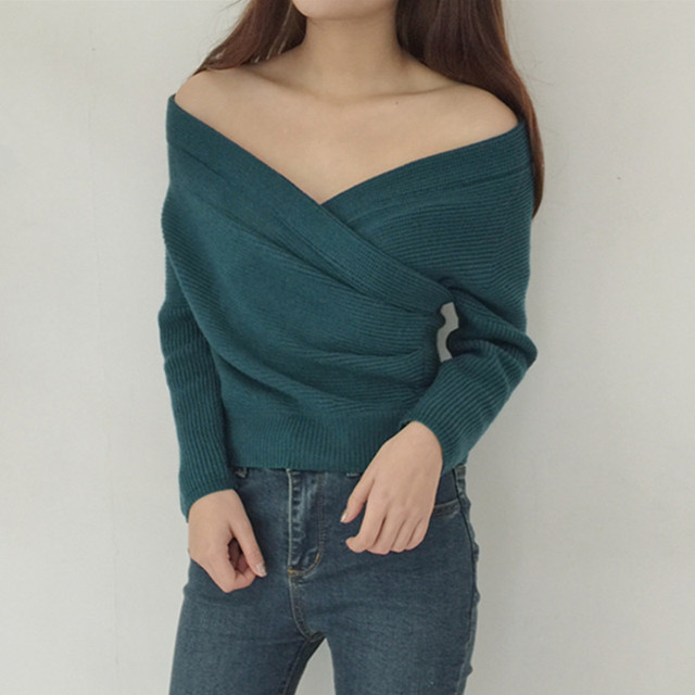 Chest Criss-cross Design Off Shoulder Sweater Cropped 2017 Spring Autumn Korean Fashion Women Knitted Pullovers Ladies Jumpers