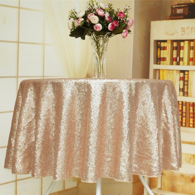 50 Round Champagne Sparkly Sequin Party Tablecloth Fabric Overlay Glitter