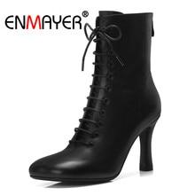 ENMAYER 2018 Spring autumn winter genuine leather cross tied square toe stilettos back zipper ankle boots beige high heels CR901 цены онлайн
